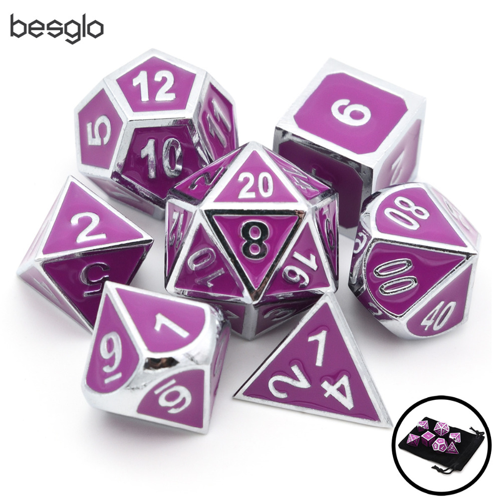 Purple Enamel Metal Dice 7pcs/set For Dungeons And Dragons RPG Board Games D4 D6 D8 D10(0-9, 00-90) D12 D20