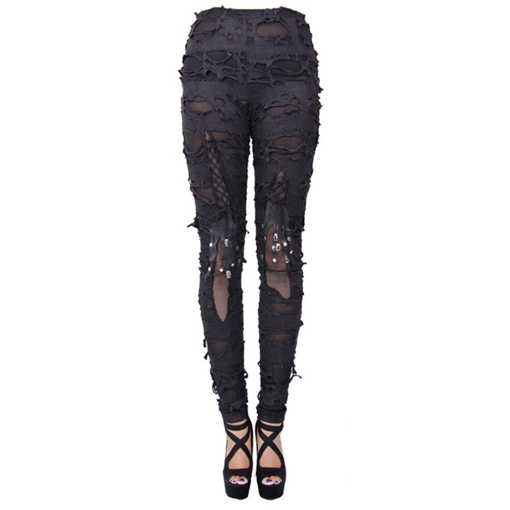 Fori Fasciatura Leggings Pantaloni Nere Strappato Casual Donne Gothic Sexy Cotone Di Rock Punk wzqnf8TS