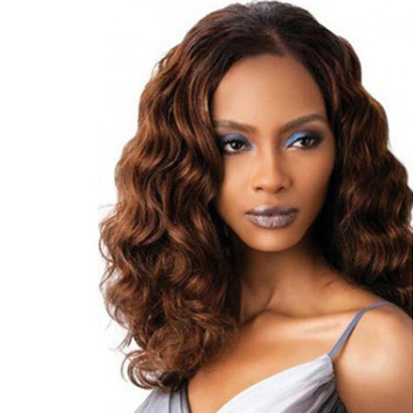 Ladies Fashion Women Charming Elegant Temperament In The Long Brown Curly Hair Wigs Fash ...