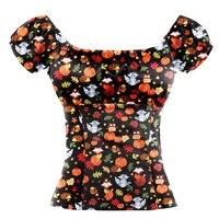 100% Cotton Women Tops Sexy Off Shoulder Rockabilly 50s Style Shirts Halloween Fox Pumpkin Print Harajuku Short Sleeve Blouse