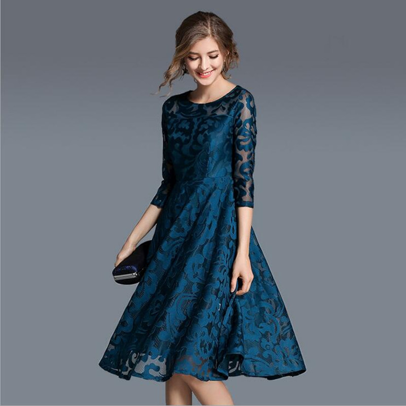 2018 Spring New Lace Dress Work Casual Slim plus size O-neck Sexy Hollow Out Blue Red black Dresses Women A-line Vintage S-5XL alfani new black women s size small s mesh back high low ribbed blouse $59 259
