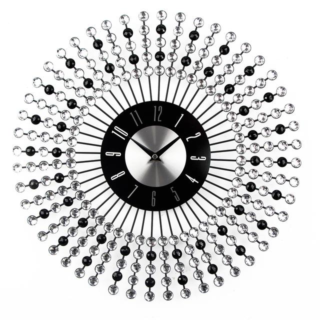 Luxury Design Large Wall Clock Diamond Metal Art Clock Duvar Saati  Murale Reloj Mural Morden Design For Home Decoration