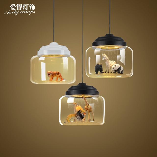 Nordic enkele hoofd moderne 3 dieren glazen hanglamp persoonlijkheid ...