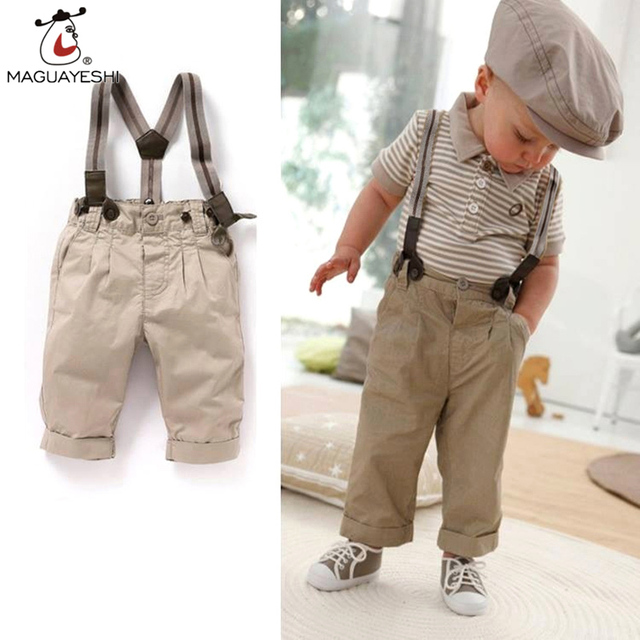 2016 New 2 pieces Summer Boys Clothing Sets Bib Pants Gentleman Set Cotton Shirt + Suspender Trousers Gen Baby Boy Clothes