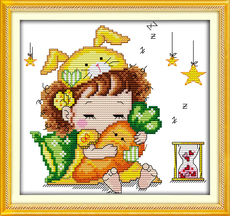 Rabbit Girl Cross Stitch Kit Cartoon 14ct 11ct Count Print Canvas
