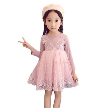 e051eeae2059 Bebé niñas de manga larga falso 2 piezas vestidos de encaje niños niñas  princesa vestido otoño nueva boda cumpleaños fiesta trajes ropa 2-7Y