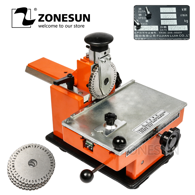 ZONESUN Pressing printing manual steel embossing machine for pumps valves embosser metal hand label engrave tool 6 gear