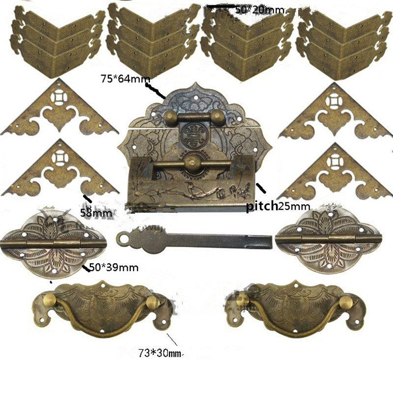 Antique Brass Lock Set,Wooden Box Vase Buckle Metal Box Hasp Latch Brass Lock,Decorative Hasp,Pattern Carved Hinge Set mtgather 5pcs case box corners for furniture decorative triangle pattern carved 3 2x1 5cm zinc metal alloy