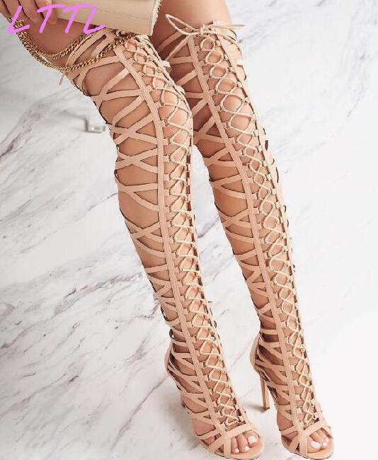 цены на Summer Fashion Women Gladiator Sandal Boots Sexy Peep Toe Ladies High Heel Over The Knee Boots Lace Up Caged Boots в интернет-магазинах