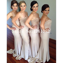 Light Pink Mermaid Sweetheart Strapless Floor Length Chiffon Bridesmaid Dresses With Pearls Embellishment