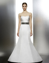 2014 satin mermaid gown soft sweetheart neckline draped bodice natural waist beaded satin tie-back ribbon sash wedding dresses