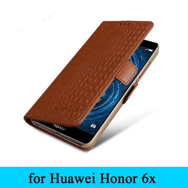 Brand New Flip Genuine Leather Flip Cover Case for Huawei Honor 6x Free Shipping