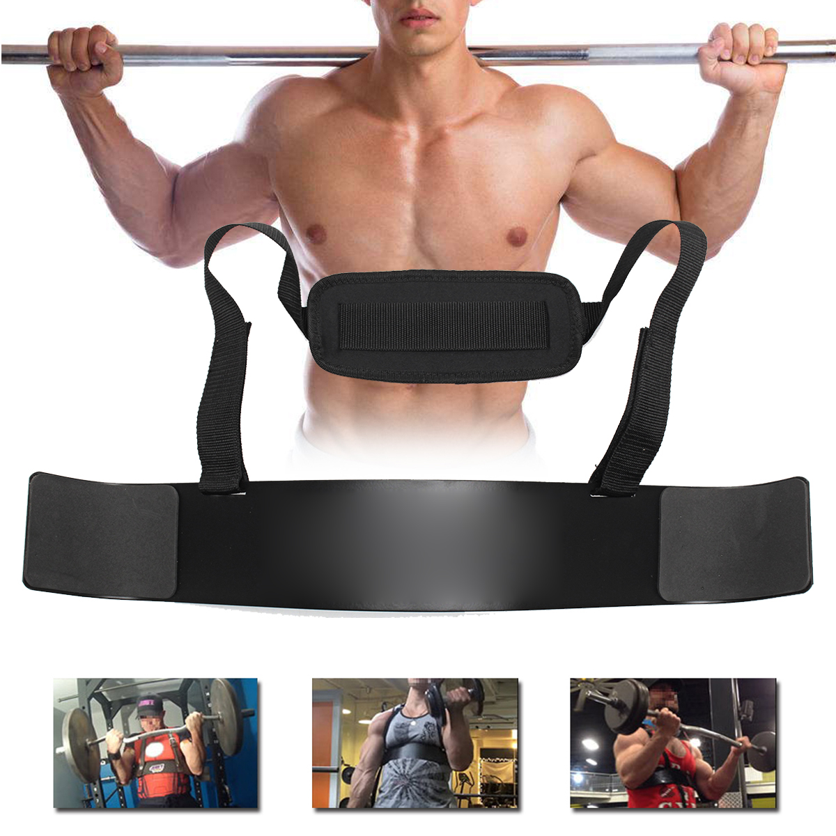 Weightlifting Bodybuilding Arm Blasters Biceps Isolator Curl Strap Barbell Support Brace Belt Training Fitness Gym Equipment