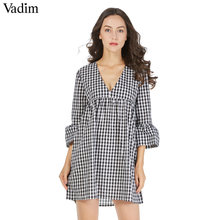 Vadim V neck plaid pleated one piece dress vintage flare bell sleeve ruffles ladies cute casual brand mini dresses vestidos(China)