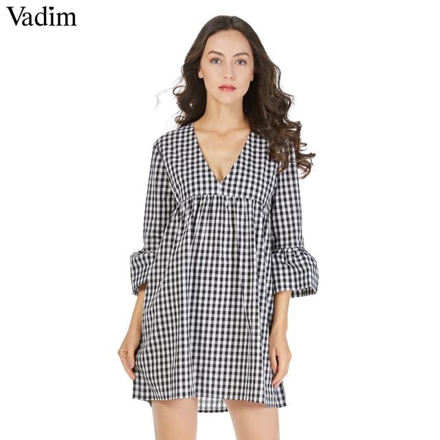 Vadim V Neck Plaid Pleated One Piece Dress Vintage Flare Bell Sleeve Amazing Bell Sleeve Dress Pattern