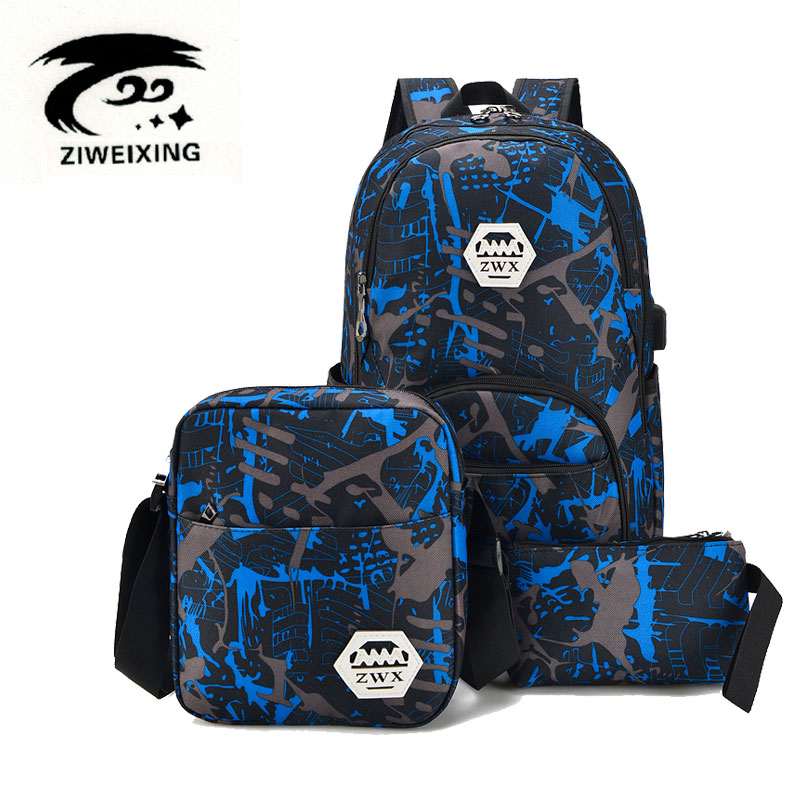 ZIWEIXING Fashion Oxford Waterproof Backpacks For Teenage Girls Casual Shoulder Bags Printing Camouflage Backpack Unisex 3 sets veevanv new fashion women s backpacks audrey hepburn printing backpacks for teenage boy girls casual bags for fans best gifts