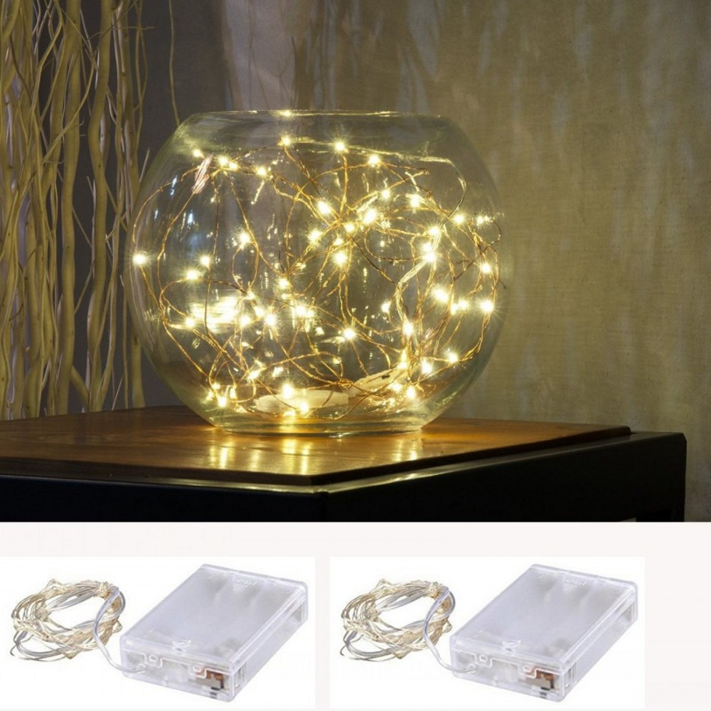Ny 2M 3M 4M 5M LED Kobber Wire String Fairy Lys AA Batteri Operated - Ferie belysning - Foto 5