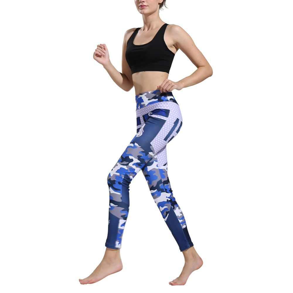 b10857684d717 Women Leggings Sports Pants Sexy Laser Printing Stretchy Training Trousers  Quick Dry Slim Body Professional Yoga