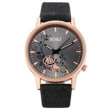 Runer Women Rhinestone Watch luxury Leather brand women's Watches