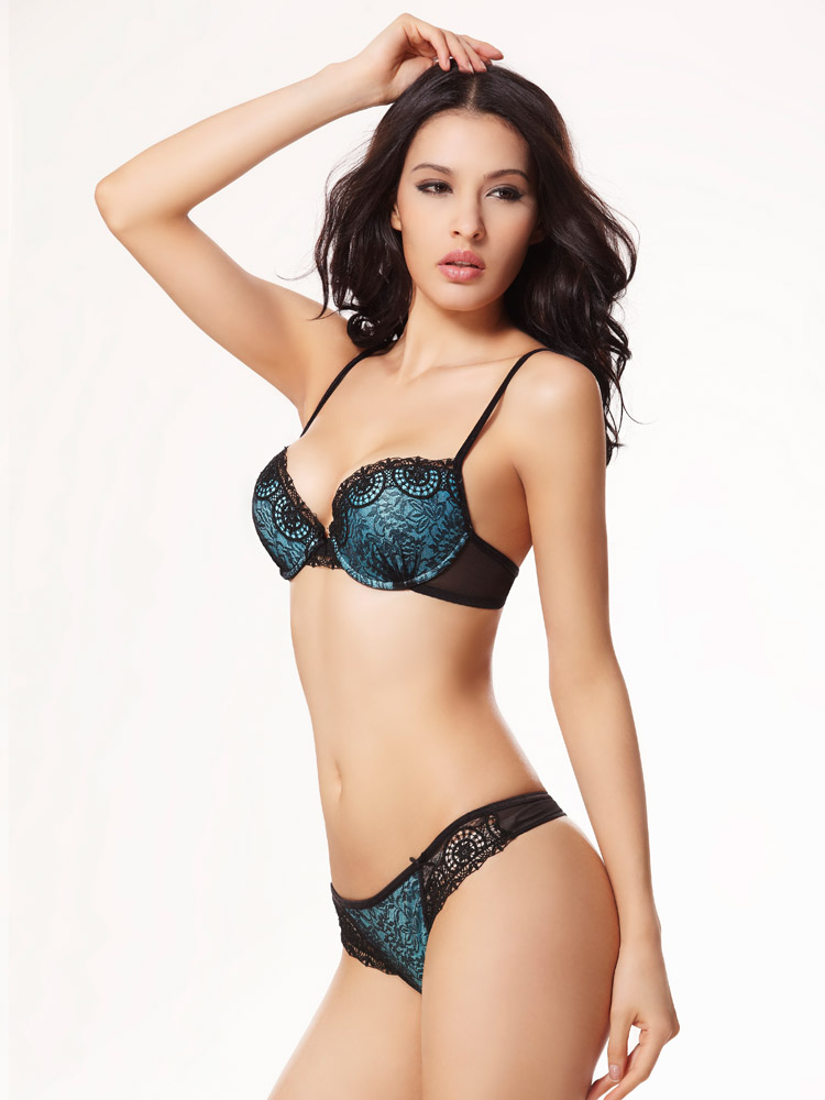c0bc79964ca85 Balaloum Sexy Bra Suit with Thong Floral Embroidery Underwear Side ...