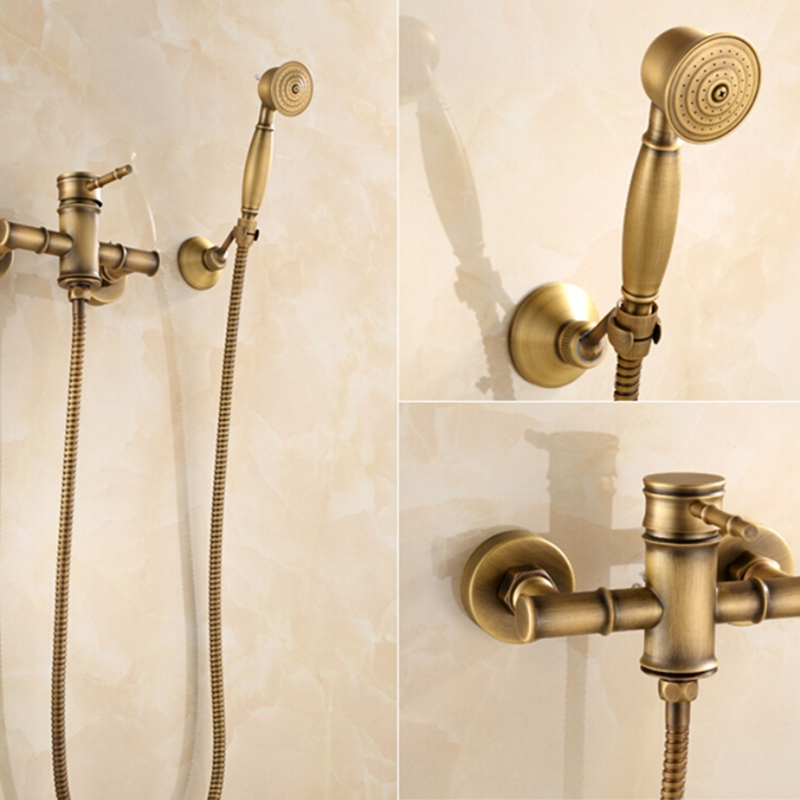 Bamboo Style Antique Brass Bathroom Rain Shower Faucet W/ Hand Sprayer Mixer Tap sognare new wall mounted bathroom bath shower faucet with handheld shower head chrome finish shower faucet set mixer tap d5205