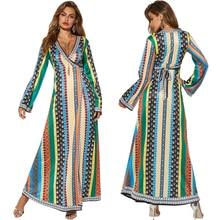 цена на Ethnic style printed bandage loose waist long sleeve V-neck long skirt African skirt dress free shipping