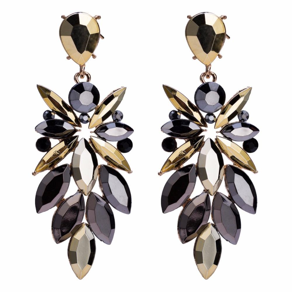 Qiaose Black Plated Rhinestone Dangle Earrings for Women Fashion Jewelry  Boho Maxi Collection Earrings Accessories 6f625839c878