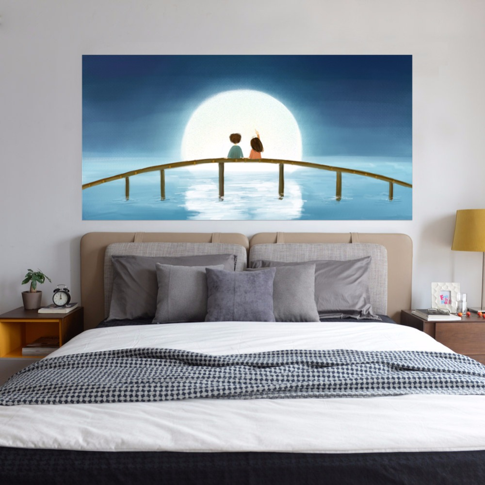2pcs/set 3D DIY Moon Kids Wooden Bridge Bedside Art Mural Sticker Home Decor Cartoon Children Wall Sticker PVC Poster Wallpaper