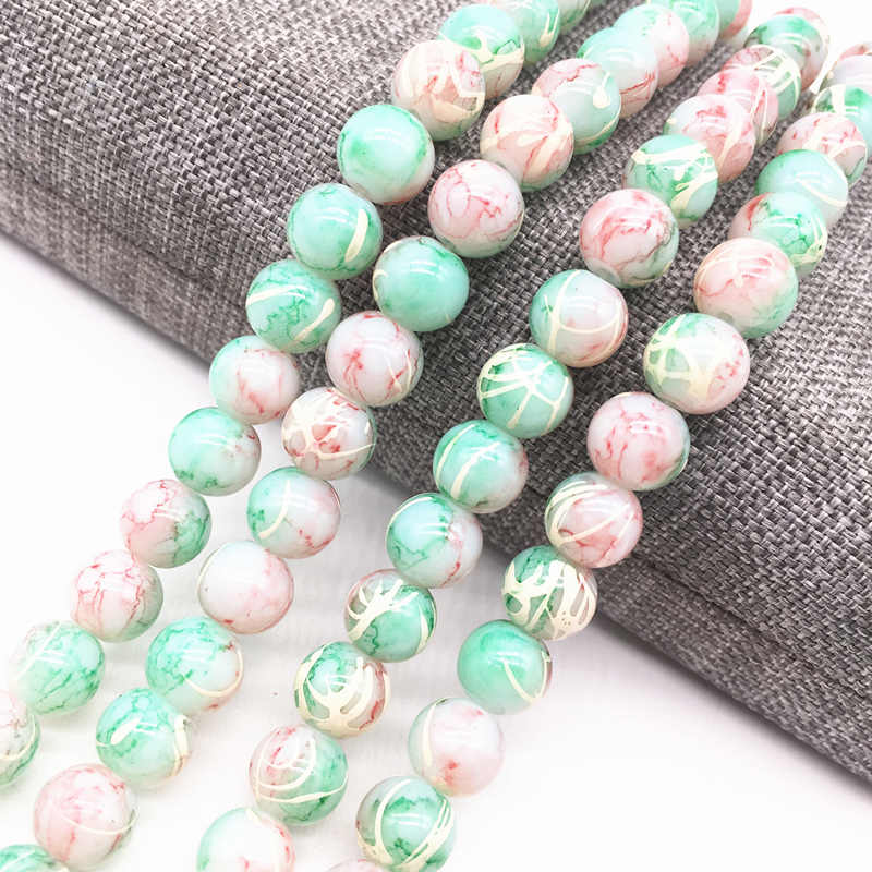 Wholesale 4/6/8mm Cyan&white Salad Glass Beads Loose Spacer Painted Pearl Charm DIY Jewellery Making #07
