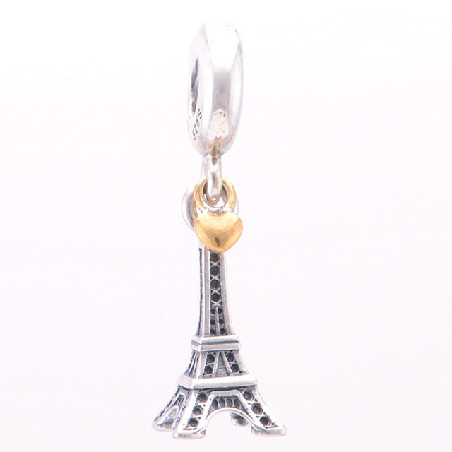 925 Sterling Silver Charm Eiffel Tower Travel Paris Fit Pandora Bracelets Charms-Shining Charm EXaBYx