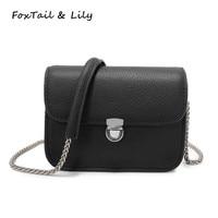 FoxTail Lily Women Genuine Leather Mini Chain Lock Bag Summer Elegant Ladies Shoulder Messenger Crossbody Bags