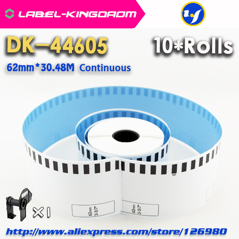 10 Refill Rolls Brother Compatible DK 44605 Label 62mm 30 48M Blue Color Compatible for Label