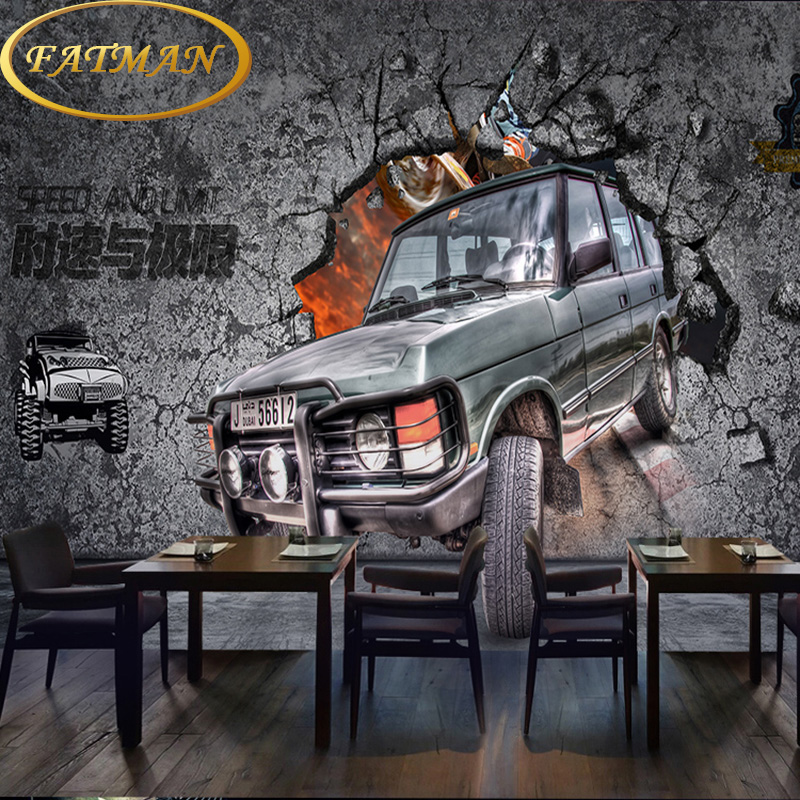Custom photo wallpaper 3D retro cement brick pattern car wallpaper theme restaurant hotel wallpaper mural custom photo wallpaper 3d retro wheel imitation brick wall wallpaper mural bar restaurant lounge hotel wallpaper