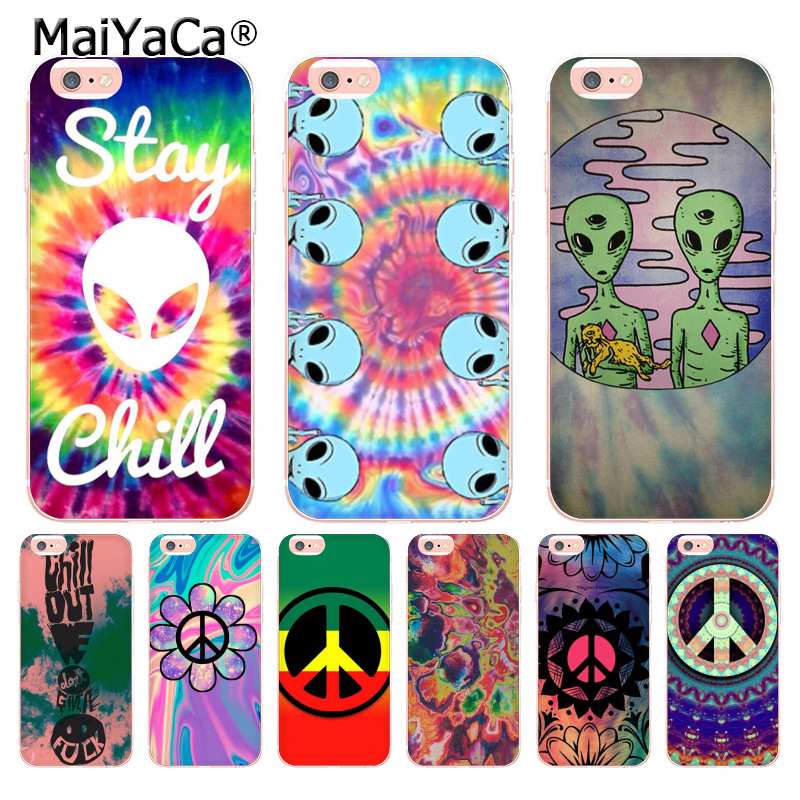 MaiYaCa Trippy Tie Dye Peace sign Alien Transparent Phone Case for iPhone 8 7 6 6S Plus X 10 5 5S SE 5C 4 4S Coque Shell