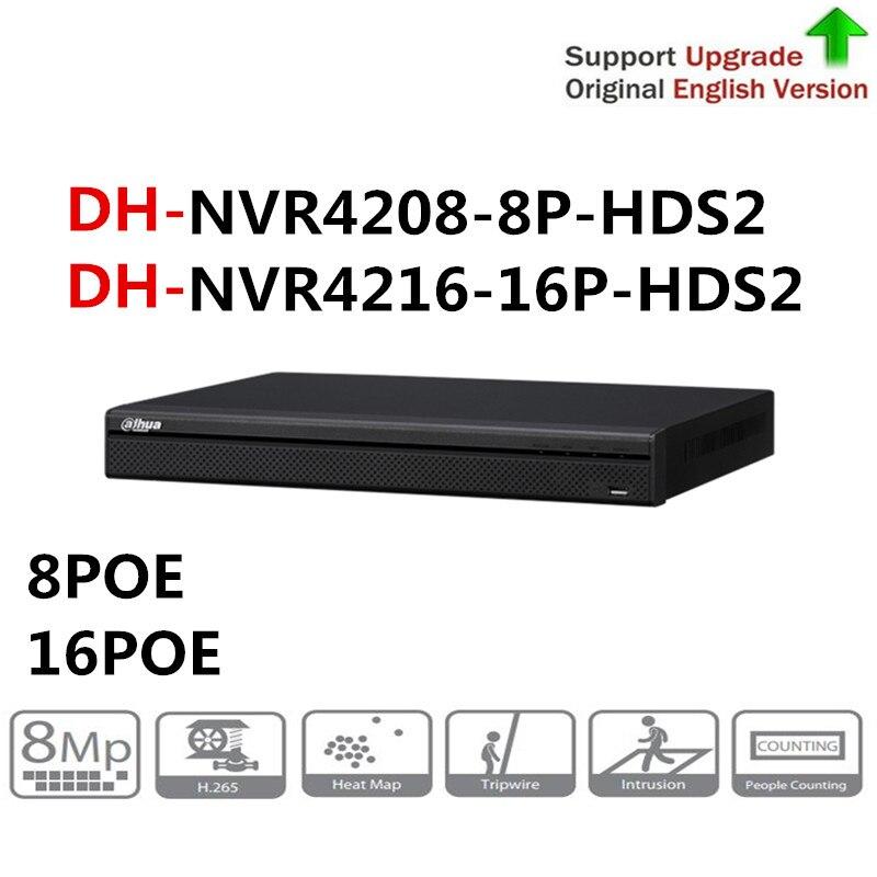 Оригинальный Dahua NVR4208 8P HDS2 8ch с 8 PoE портами NVR4216 16P HDS2 16ch с 16 PoE портами 4K NVR 1U сетевой видеорегистратор