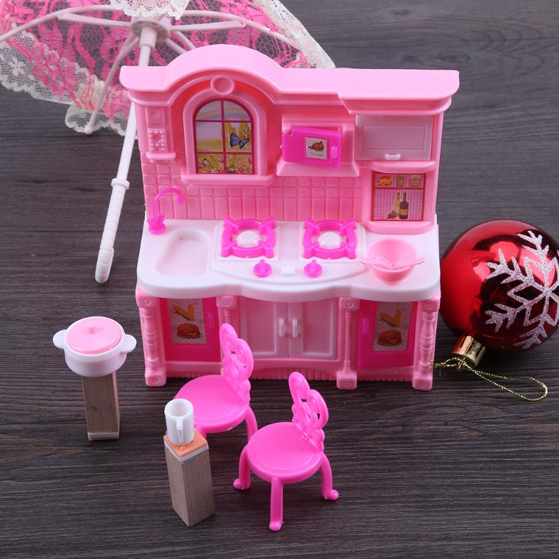 1Set Mini Kitchen Doll Accessories Dining Table Chairs Dinnerware Cabinet Set Mini Furnitures for Barbie Dolls Girls Toys Gifts