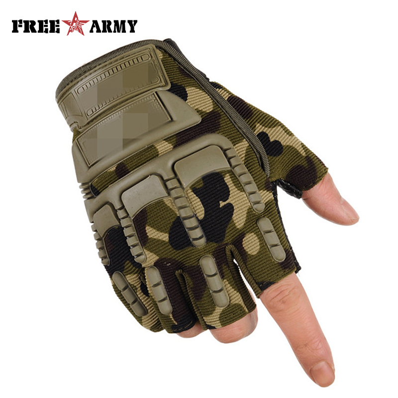 Tactical Half Finger Military Gloves Men's Outdoor Training Sports Protection Gloves Riding Hiking Non-slip Breathable