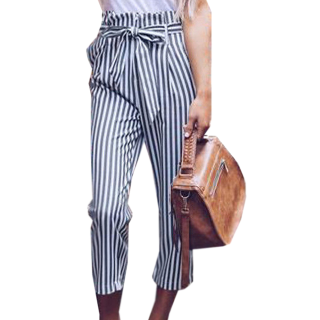 YJSFG HOUSE Fashion Women Pencil Pants High Waist Drawstring Elastic Long Pant Stripped Pencil Trousers Casual Drawstring Office