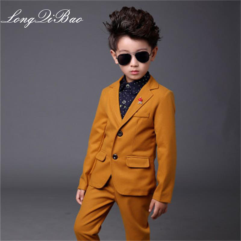 Boys suits for weddings Kids Prom Suits Yellow Wedding Suits Kids tuexdo Big Children Clothing Set Boy Formal Classic Costume