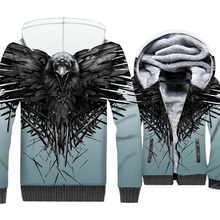 Funny Game Of Thrones Three-eyed Raven 3D Hoodies Streetwear Thick Mens Jacket Harajuku Zipper Unisex Tracksuit Casual Coat Men