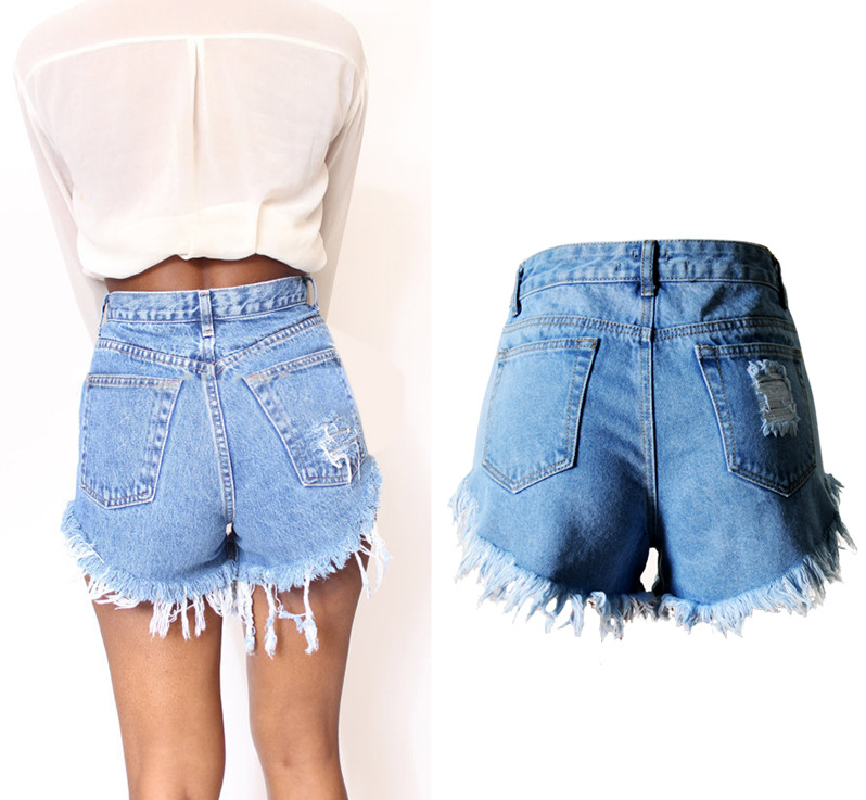 fc3c7c74fa97a Londinas Ark Store High Waist Women Denim Shorts Jeans Scratched Tassel  Straight Stretched Fashion Butt Push Up Ladies Pants-in Jeans from Women s  Clothing ...