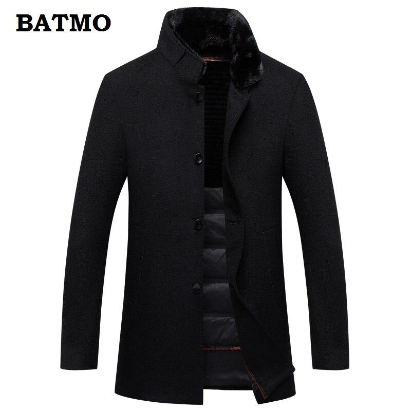 BATMO 2018 Новое поступление Высокое качество 100% шерсть натуральный норковый меховой воротник кролик Мех Лайнер Тренч пальто мужчины, 90% белый у