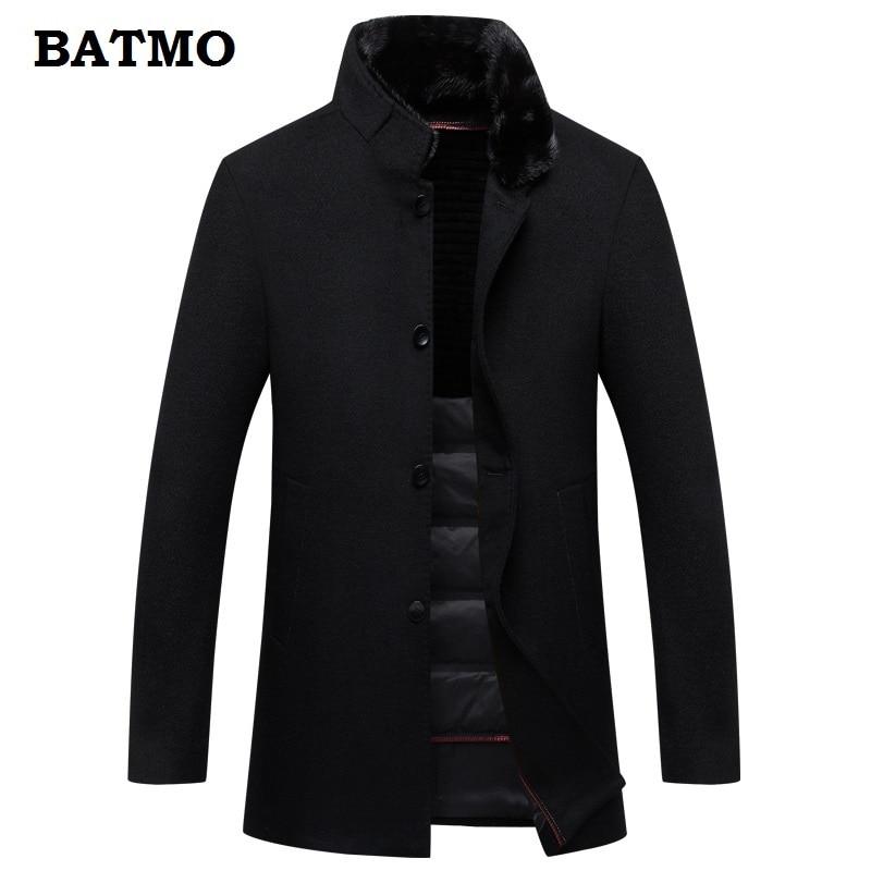 BATMO 2019 new arrival high quality 100% wool natural mink fur collar rabbit fur liner trench coat men,90% white duck down liner