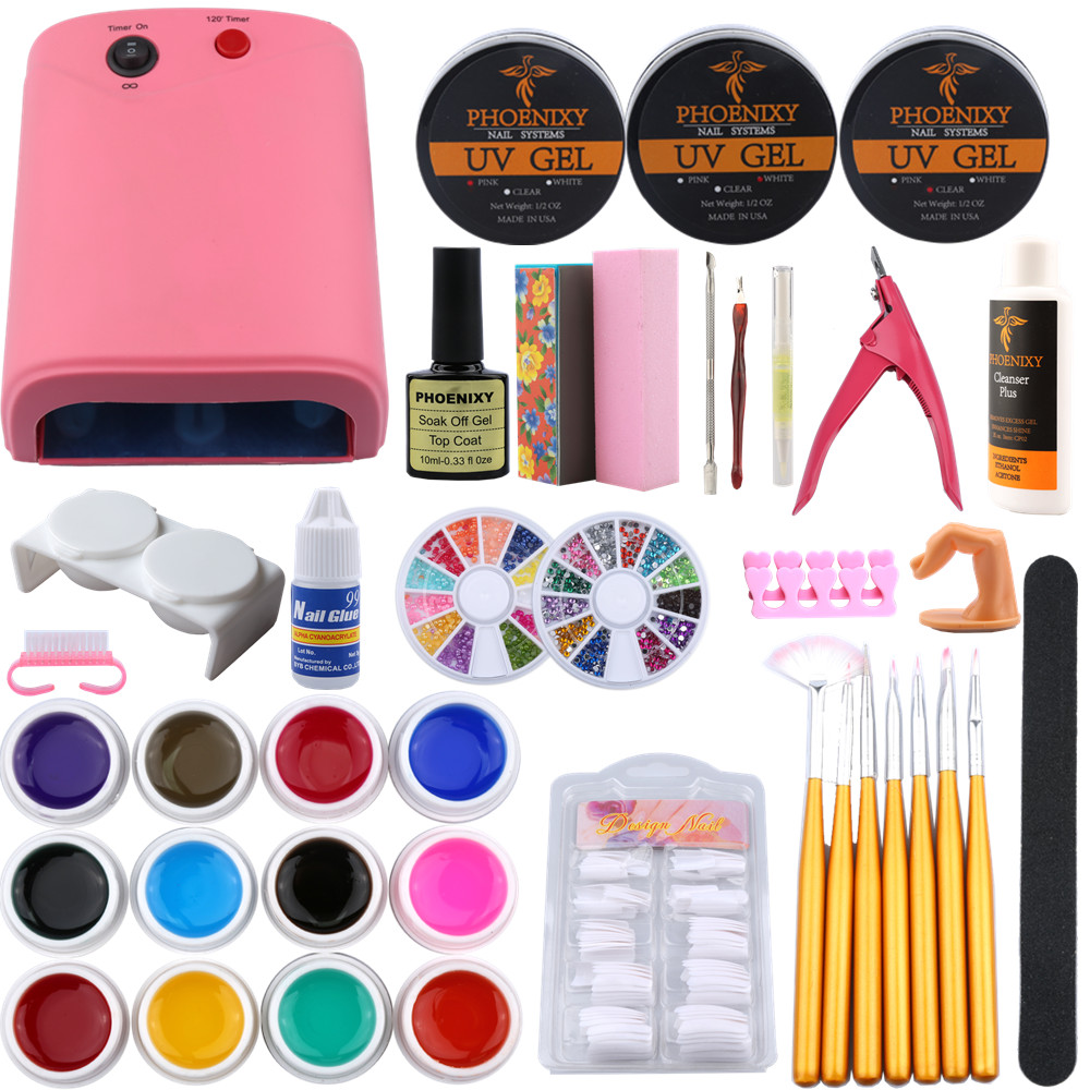 36W Nail Dryer Lamp Manicure Kit UV Gel Polish Kit Nail Tips Extention Cuticle Oil Vanishes Set Manicure Nail Art Tool Kits Sets 1 roll 10m clear nail double side nail adhesive tape strips tips transparent manicure nail art tool