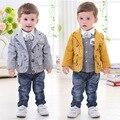 Roupas para crianças no outono e inverno bebê menino cavalheiro terno casaco + calça + camisa 1-4 anos de idade do bebê terno de algodão
