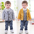 children's clothing in the fall and winter baby boy gentleman suit coat +pants+ shirt 1-4 years old baby cotton suit