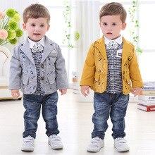 Детская одежда осенью и зимой ребенок мальчик джентльмен костюм пальто + брюки + рубашка 1-4 лет ребенок хлопок костюм