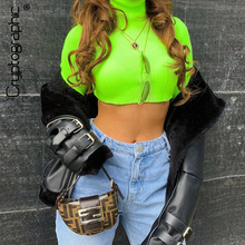 Cryptographic long sleeve fashion turtleneck neon green solid casual t-shirts autumn winter knitted sexy crop tops short clothes
