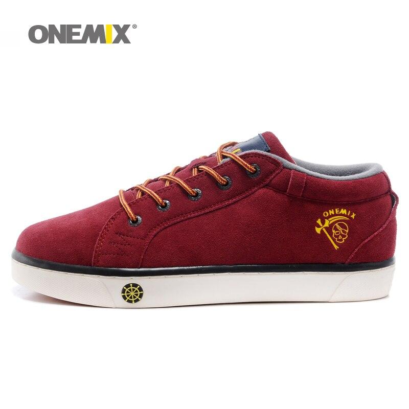 Prix pour ONEMIX Marque Hommes de Planche À Roulettes Chaussures Lacent Sneakers pour Hommes avec Tige Basse Plat Chaussures de Haute Qualité Hommes Sport Chaussures 1062