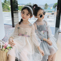 Boutique dress toddler clothes little princess flower girls fairy mesh long sleeve kid bubble sleeve beach vintage boho holiday